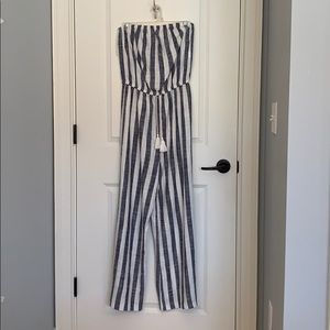 Blue and White Striped Strapless Jumpsuit